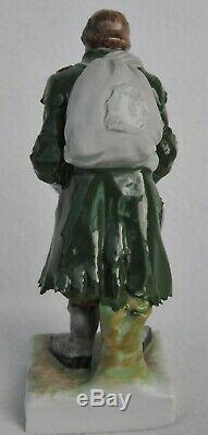 1800y. RARE RUSSIAN IMPERIAL PORCELAIN FIGURINE POPOV ENAMEL CERAMIC GIRL STATUE