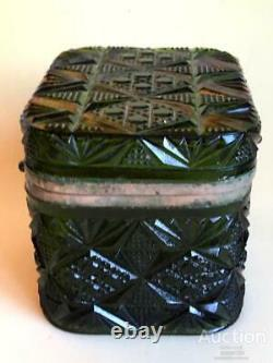 1880 Huge Antique Imperial Russian Green Glass Box for Tea 1787 Perov with Sons