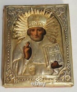 1880y. RUSSIAN ROYAL IMPERIAL 84 SILVER GOLD OKLAD ICON BISHOP NICHLAS PAINTING