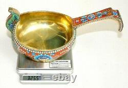 19. Russian Royal Imperial 88 Silver Enamel Kovsh Bowl Spoon Gold Bucket Egg Pin
