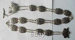19c RUSSIAN IMPERIAL 84 SILVER ENAMEL BELT ROYAL ANTIQUE ART KUBACHI STERLING