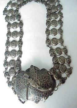 19c. RUSSIAN IMPERIAL 84 SILVER ENAMEL BELT ROYAL ANTIQUE ART KUBACHI STERLING