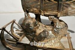 19c RUSSIAN IMPERIAL SLIGH SILVERED BRONZE ROYAL VODKA BARREL BEAR KOVSH CUP EGG