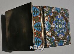 19c. RUSSIAN ROYAL IMPERIAL 84 SILVER ENAMEL CIGARET HUMIDOR BOX KOVSH MARCHAK