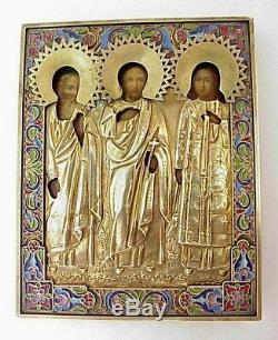 19c. RUSSIAN ROYAL IMPERIAL ICON 84 SILVER ENAMEL OKLAD, St. SAMON, GURI, AVIV