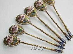 19h Century Imperial Russian Solid 84 Silver Cloisonne Enamel Spoon Set AGAFONOV