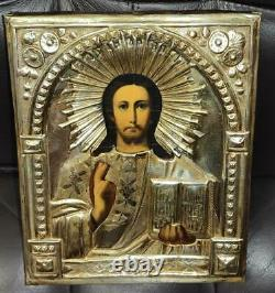 19th Antique Imperial Russian Silver Plated Christian Icon Oil Jesus Almighty