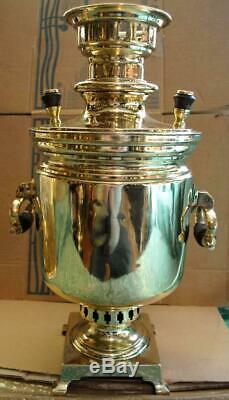19th Antique Imperial Russian Wood Fire Tea Samovar Batashev Tula 3 liters Marks