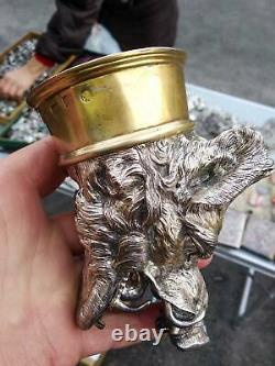 498gr Massive Antique Imperial Russian Sterling Silver 84 Vodka Cup Boar Signed