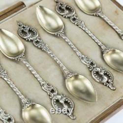 ANTIQUE 19thC IMPERIAL RUSSIAN FABERGE SILVER-GILT 12 COFFEE SPOONS c. 1890