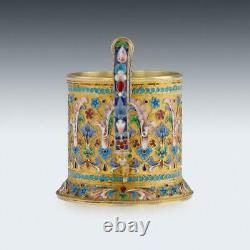 ANTIQUE 19thC IMPERIAL RUSSIAN SOLID SILVER-GILT ENAMEL TEA GLASS HOLDER c. 1896