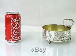 ANTIQUE IMPERIAL RUSSIAN 84 SILVER CANDY DISH MOSCOW ART NOUVEAU rare form