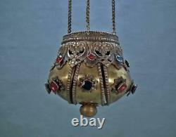 Antique 18th Century Russian Icon Vigil lamp In Form Of Russian Imperial Crown