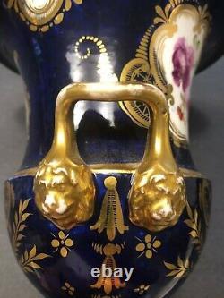 Antique 19C Imperial Russian Cobalt Blue Porcelain Vase