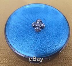 Antique 19C Imperial Russian Faberge Guilloche Enamel Rose Cut Diamonds 84Silver