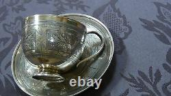 Antique 19c Russian Imperial 84 Silver Engraved Tea Cup & Saucer Full Hallmarked