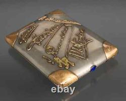Antique 20th Original Rare Russian Imperial Gilt 84 Silver cigarette case 209gr