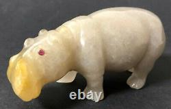 Antique Faberge Imperial Russian Factory Carved Agate Hippo
