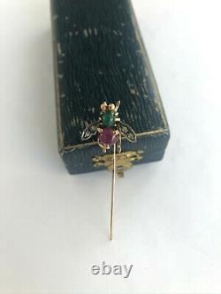 Antique INSECT Stick Pin Brooch Imperial Russian Faberge 14k Gold Ruby Diamond