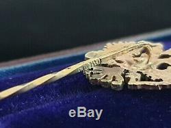 Antique Imperial Eagle 56 Gold Russian Stick Pin Brooch FABERGE Era Tsar Russia