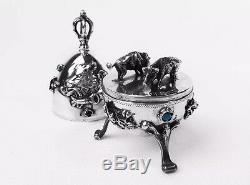 Antique Imperial Russian 1878 Silver 84 Jewish Egg Wild Boars