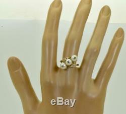 Antique Imperial Russian 18k gold, Diamonds & Sea Pearls ladies ring c1908