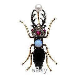 Antique Imperial Russian 56 Gold Bug Cicada Beetle Brooch Pin Romanov Jewelry RU