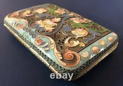 Antique Imperial Russian 84 Silver Enameled Cigarette Case (M. Semenova)