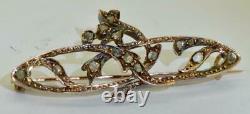 Antique Imperial Russian Art-Nouveau Faberge 14k rose gold & Diamonds brooch. Box
