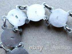 Antique Imperial Russian Black Sterling Silver 84 Enamel Bracelet Caucasus 15 gr