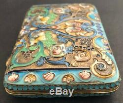 Antique Imperial Russian Enameled Gilded Silver Cigarette Case (Zverev)