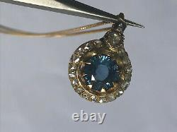 Antique Imperial Russian Faberge 14k Gold 56 natural Sapphire & Diamonds Pendant