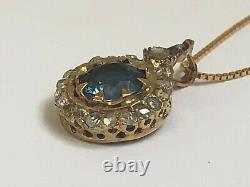 Antique Imperial Russian Faberge 14k Gold 56 natural Sapphire & Diamonds Pendant