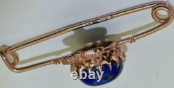 Antique Imperial Russian Faberge 14k Gold&Lapis Lazuly Officers award pin brooch
