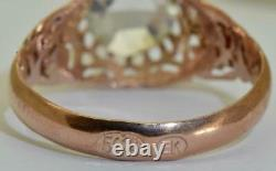 Antique Imperial Russian Faberge 14k red gold & 1ct Diamond ring by Erik Kollin