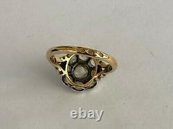 Antique Imperial Russian Faberge 18k 72 AT Gold Silver Diamond Ring Author's