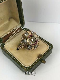 Antique Imperial Russian Faberge 18k 72 Gold Diamond Ruby Ring Author's work