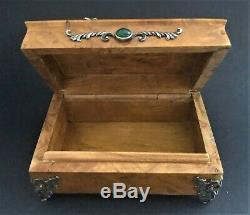 Antique Imperial Russian Faberge 84 Silver/Wood Vanity Box