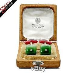 Antique Imperial Russian Faberge Cufflinks Gold Jade Diamond Rhodonite Nephrite