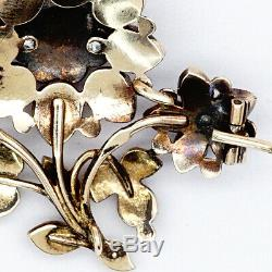 Antique Imperial Russian Faberge Gold 56 Old Mine Garnet Pin Brooch K Pendant