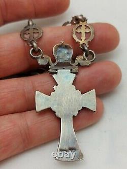 Antique Imperial Russian Faberge Silver 84 Enamel Orthodox Panagia Cross Pendant