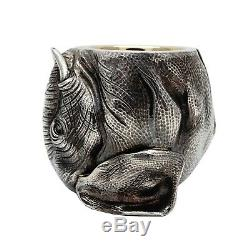 Antique Imperial Russian Faberge Silver 84 Garland Gold Wash Footed Cup Beaker