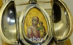Antique Imperial Russian Faberge silver Easter Egg relic holder, painted icon