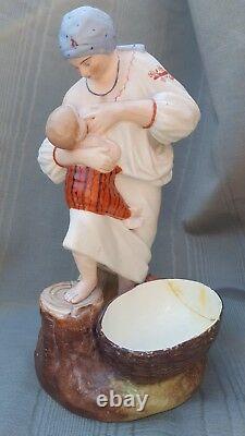 Antique Imperial Russian Gardner Bisque porcelain woman nursing a child figure