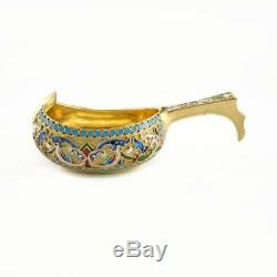 Antique Imperial Russian Ivan Saltykov Shaded Enamel 84 Silver Kovsh 1895 Moscow