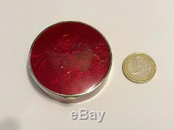 Antique Imperial Russian Karl Faberge 88 Solid Silver Red Guilloche Enamel Box