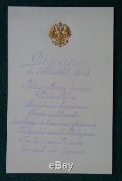 Antique Imperial Russian Lunch Menu Tsar Nicholas II Romanov 26 July 1913