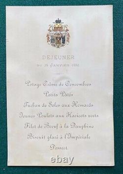 Antique Imperial Russian Menu Tsarina Dowager Empress Marie Romanov Coat of Arms