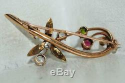 Antique Imperial Russian ROSE 56 Gold 14K Jewelry Brooch Natural Gemstone