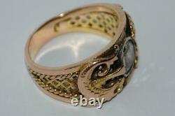 Antique Imperial Russian ROSE 56 Gold Jewelry Ring Gemstone Diamond 0.5 Ct S 9